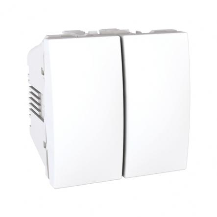 Переключатель двухклавишный белый 2 модуля Unika - 1