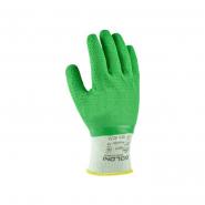 перчатки рабочие синтет. белые с зел. латекс. ребристым покрытием 4526