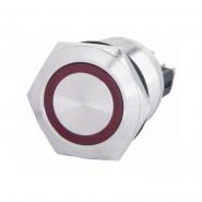Кнопка металлическая с фиксацией 22мм 1NO+1NC, с подсветкой, красная 220V TYJ 22-371красн  АСКО-УКРЕМ