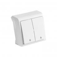 Выключатель двухклавишный проходной белый VIKO Серия VERA