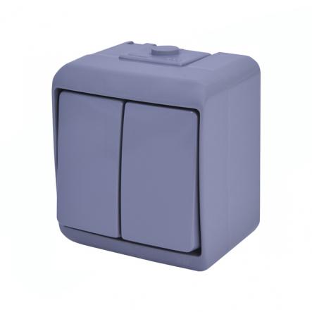 Выключатель 2-клавишный (серый) (IP44) VHE-2-SR - 1