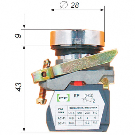 """Выключатель кнопочный ВК-011НЦК 1Р13 (Цилиндрическая, """" красная"""" Промфактор - 1"""