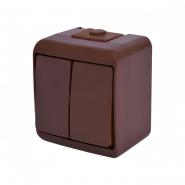 Выключатель 2-кл (коричневый) (IP44) VHE-2-KR