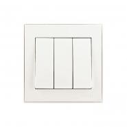 Выключатель трехкавишный  жемчужно-белый перламутр Lezard серия RAIN