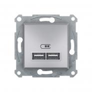 Розетка USB 2,1А  ASFORA алюминий