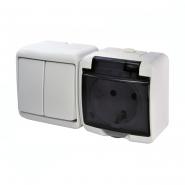Микс горизонтальный (2 клавишный выключатель+1-я розетка schuko дымчатая крышка IP44) VRHH-2sd