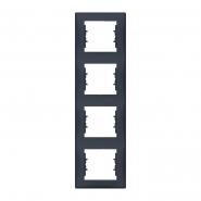 Рамка 4 мод. вертикальная графит