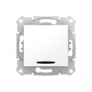 Выключатель одноклавишный белый с подсветкой
