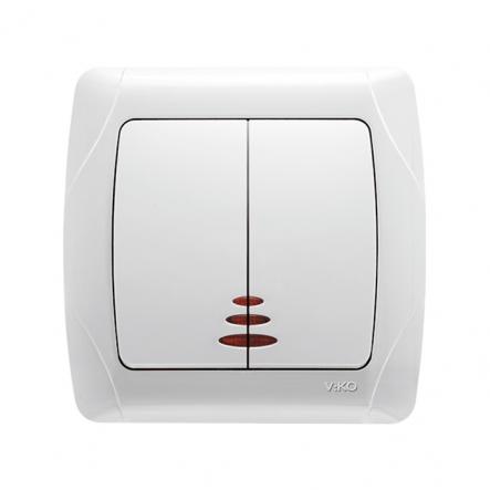 Выключатель двухклавишный с подсветкой белый VIKO Серия CARMEN - 1