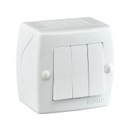 Выключатель 3кл накладной Mono Electric, OCTANS IP 20 белый