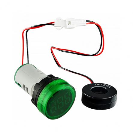 Вольтметр круглый ED16-22VD 30-500В АС (зелёный) врезной монтаж - 1