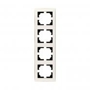 Рамка 4-я вертикальная с боковой вставкой жемчужно-белый перламутр Lezard серия RAIN