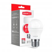 Лампа LED G45 F 6W 3000K 220V E27 Maxus