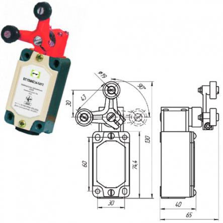 Выключатель концевой Промфактор ВП 15М 4234 рычаг поворотный Y-образный с роликами - 1