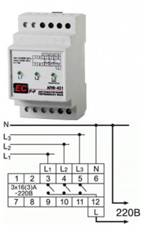 Автомат. переключатель фаз PF-431 (АПФ-431) 380В 16А 3S Электросвит - 1