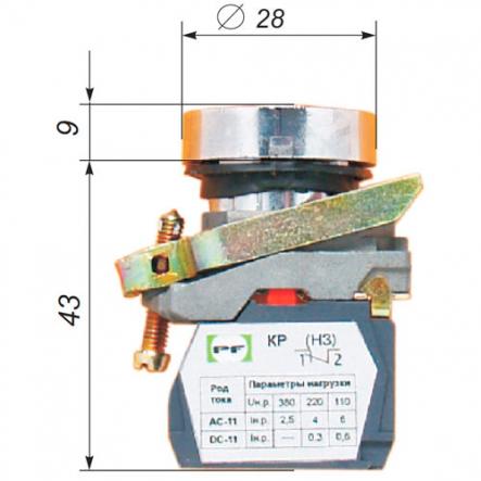 Выключатель кнопочный ВК-021НЦ3 13 зеленый IP-54 (цилиндрический) Промфактор - 1