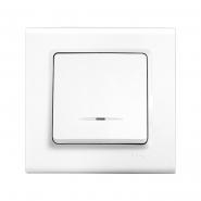 Выключатель одноклавишный с подсветкой белый LINNERA VIKO
