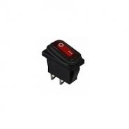 Перемикач 1 клав. вологозах з підсвічуванням KCD3-101WN R/B  220V АСКО