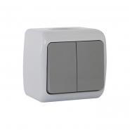 Выключатель 2-кл. серый IP54 ERSTE