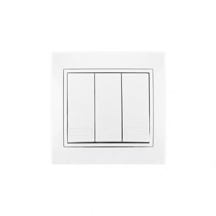 Выключатель тройной с белой вставкой белый MIRA LEZARD - 1