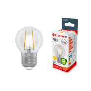 Лампа LED сфера D45 4W E27 2900K прозрачная ELECTRUM