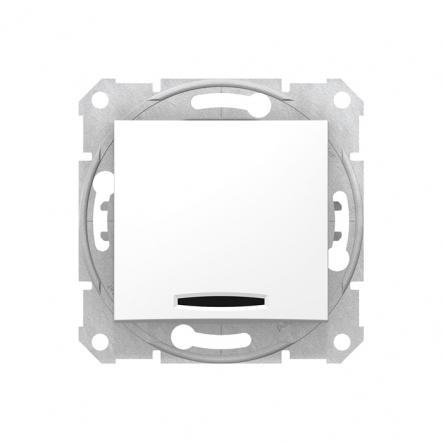 Выключатель одноклавишный белый с подсветкой - 1