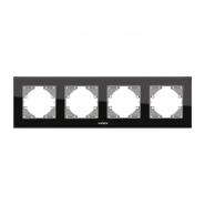 Рамка черное стекло  4поста  горизонтальная VIDEX BINERA