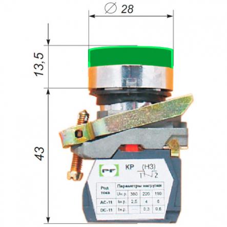 Выключатель кнопочный ВК011-НЦИЛ3-13 Промфактор - 1