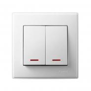 Выключатель двухклавишный Lezard Lesya с подсветкой 10 А 250В белый 705-0202-112