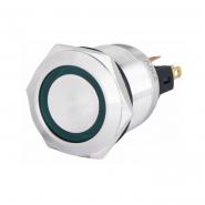Кнопка металлическая с фиксацией 22мм 1NO+1NC, с подсветкой, зеленая 220V TYJ 22-371зел АСКО-УКРЕМ