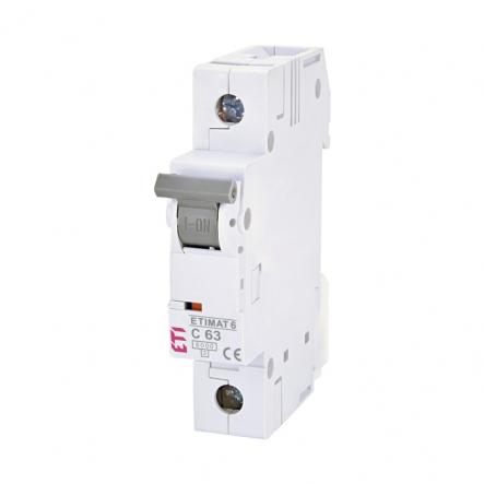 Автоматический выключатель ETI 6 S-191 C 63A 1p 6kA 2141522 - 1