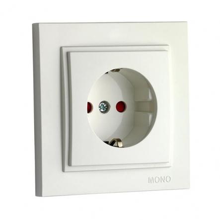 Розетка 1-я с заземлением, защита для детей Mono Electric, DESPINA (белый) - 1