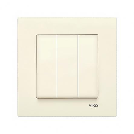 Выключатель трехклавишный крем VIKO Серия KARRE - 1