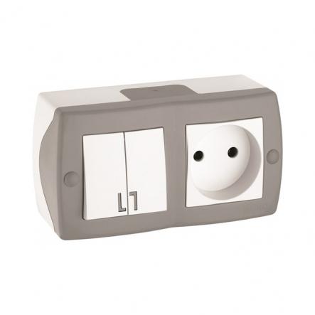 Выключатель 2кл+розетка без заземления накладной Mono Electric, OCTANS IP 20 серый - 1
