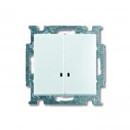 Выключатель двухклавишный с подсветкой ABB Basic 55 белый