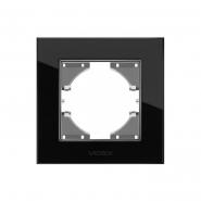 Рамка черное стекло одинарная горизонтальная VIDEX BINERA