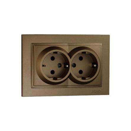 Розетка 2-я с заземлением , Mono Electric, DESPINA (бронза) - 1