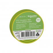 Изолента ПВХ 19мм х 20мм жёлто-зелёная SCHNEIDER