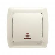 Выключатель одноклавишный с подсветкой крем VIKO Серия CARMEN