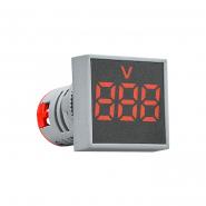 Вольтметр квадратный  ED16-22FVD 30-500В АС (красный) врезной монтаж