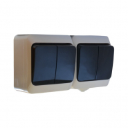 Блок - 2 выключ. (двухклав+двухклав.)чёрн. клавиши 2ВЗ10-2-IP44N