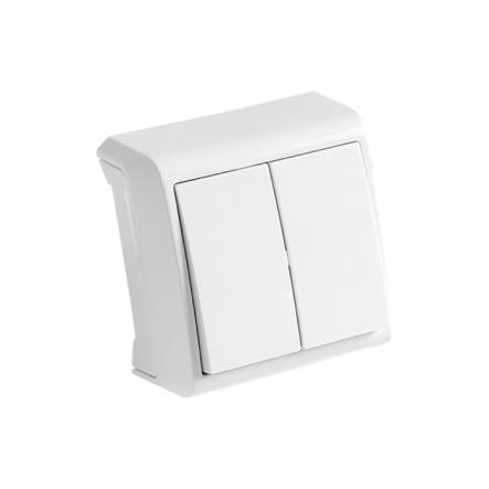 Выключатель двухклавишный белый VIKO Серия VERA - 1