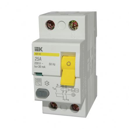 Устройство защитного отключения УЗО IEK ВД1-63 2p 25A/10мА - 1