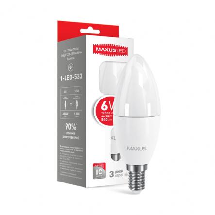 Лампа LED C37 CL-F 6W 3000K 220V E14 Maxus - 1