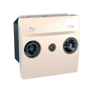 Розетка телевизионная ТV+R одинарная 2-х модульная слоновая кость Unika