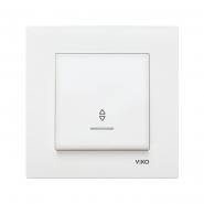 Выключатель одноклавишный проходной с подсветкой белый VIKO Серия KARRE
