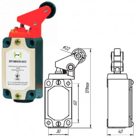 Выключатель концевой Промфактор ВП 15М 4236 рычаг с роликом нажатие сбоку - 1