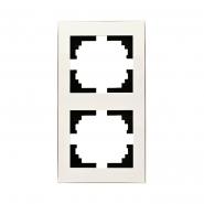 Рамка 2-я вертикальная с боковой вставкой жемчужно-белый перламутр Lezard серия RAIN