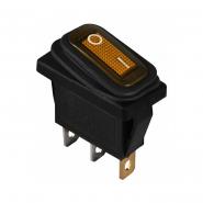 Перемикач 1 клав. вологозах. з підсвічуванням KCD3-101WN YL/B 220V АСКО