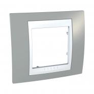 Рамка 1-местная туманно-серый/белый Unika
